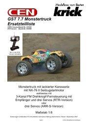GST 7.7 Monstertruck Ersatzteilliste - Krick