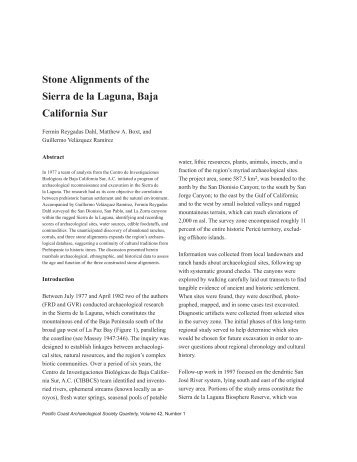 Stone Alignments of the Sierra de la Laguna - Pacific Coast ...
