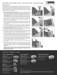 anchor product line anchor retaining wall installation instructions