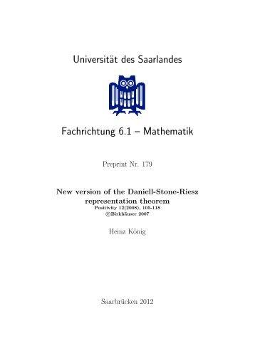 Universität des Saarlandes Fachrichtung 6.1 – Mathematik