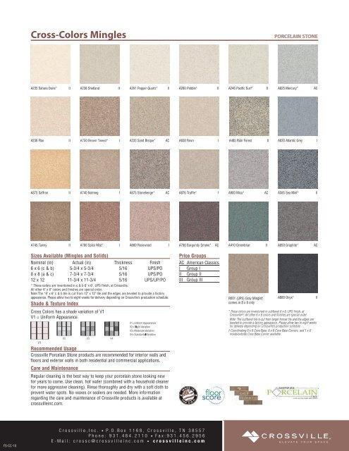Cross Colors Solids Crossville Inc