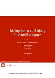 Bibliographie zu Bildung im Alter/Geragogik - Bundesministerium für ...