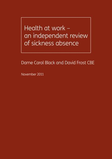 Health at work – an independent review of sickness absence