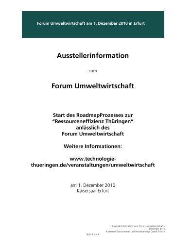 Ausstellerinformation Forum Umweltwirtschaft