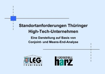 Standortanforderungen Thüringer High-Tech-Unternehmen