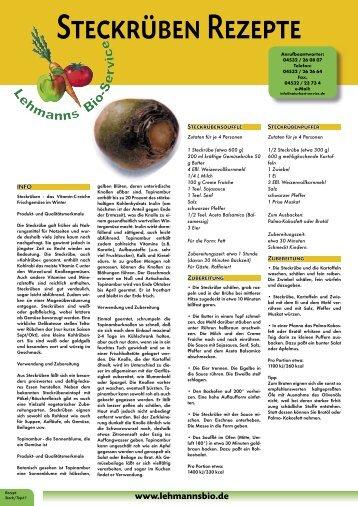 Steckrüben Rezepte - bei Lehmanns Bio Service