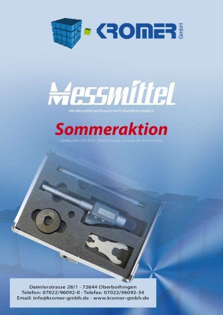 Messmittel auf Wunsch mit Prüfzertifikat erhältlich - Kromer GmbH