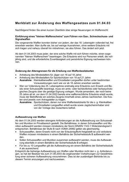 Merkblatt zur Änderung des Waffengesetzes zum ... - Kreis Soest