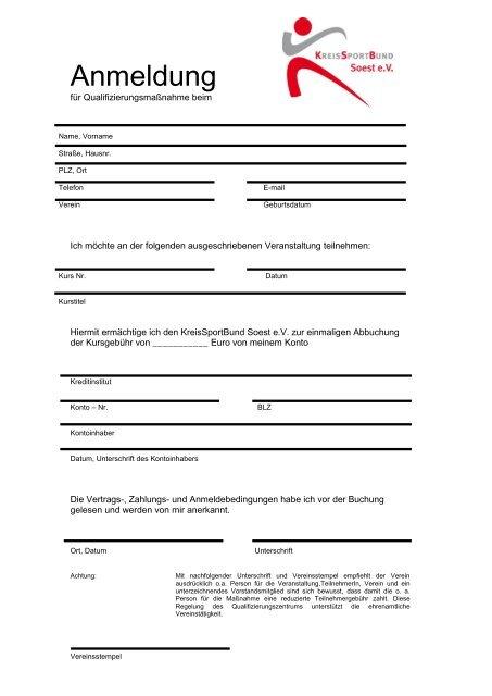 Anmeldung - Kreis Soest