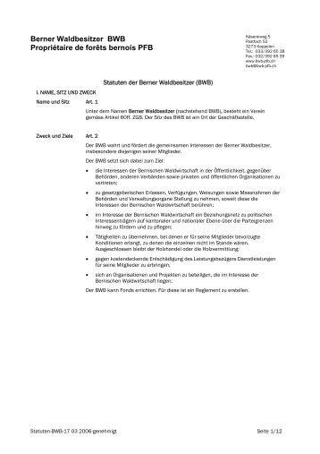 Berner Waldbesitzer BWB Propriétaire de forêts bernois PFB