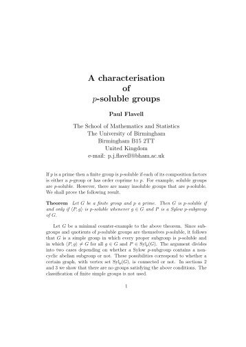 A characterisation of p-soluble groups - University of Birmingham