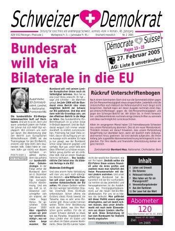 Bundesrat will via Bilaterale in die EU - Schweizer Demokraten SD