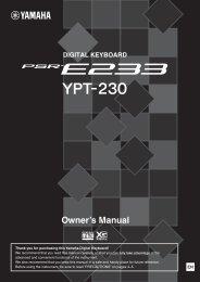 PSR-E233/YPT-230 Owner's Manual - Yamaha Downloads