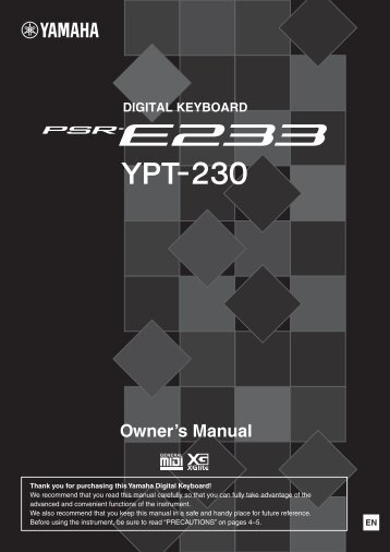 PSR-E233/YPT-230 Owner's Manual - Yamaha Downloads