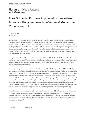 Mary Schneider Enriquez Appointed as Harvard Art Museum's ...