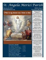 St. Angela Merici Parish - E-churchbulletins.com