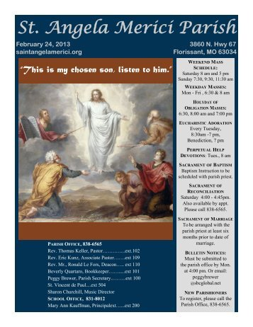 St. Angela Merici Parish - E-churchbulletins.com