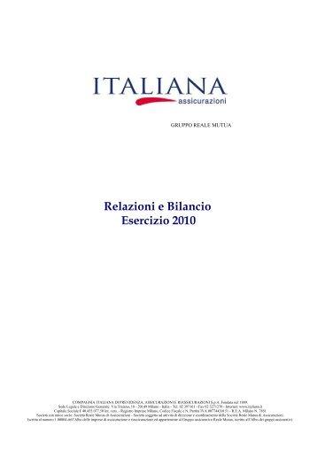 Relazioni e Bilancio Esercizio 2010 - Italiana Assicurazioni