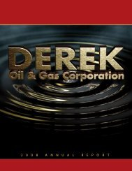 2 0 0 8 A N N U A L R E P O R T - Derek Oil & Gas Corporation