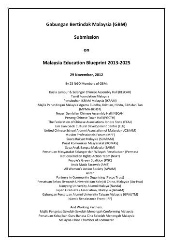 Malaysia education blueprint 2013 2025 foreword 1 gabungan bertindak malaysia gbm submission on malaysia malvernweather Choice Image