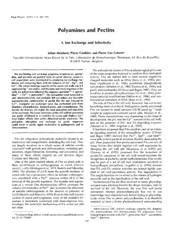 Polyamines and Pectins - Plant Physiology