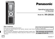 RR-QR230-P - Operating Manuals for Panasonic Products ...