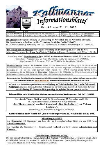 Informationsblatt Kollmann 21.11.2010 (468 KB) - .PDF - Gemeinde ...