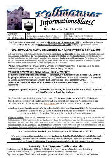 Informationsblatt Kollmann 14.11.2010 (459 KB) - .PDF - Gemeinde ...