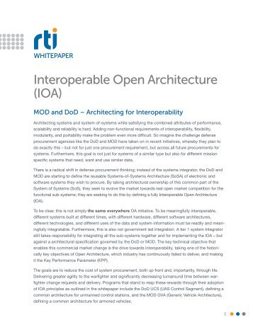 Interoperable Open Architecture (IOA) - Real-Time Innovations