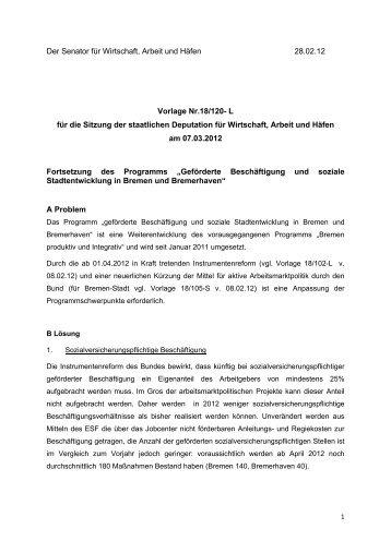 """Fortsetzung des Programms """"Geförderte - bremer und ..."""