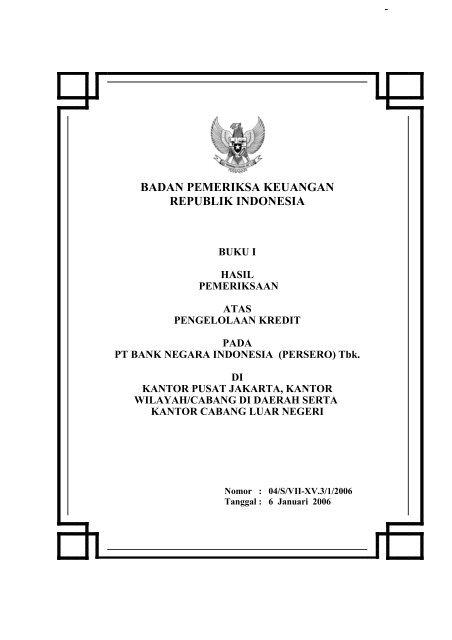 Pt Bank Negara Indonesia Badan Pemeriksa Keuangan