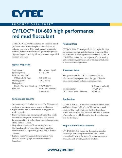 77c2355afc CYFLOC™ HX-600 high performance red mud ... - CYTEC Industries