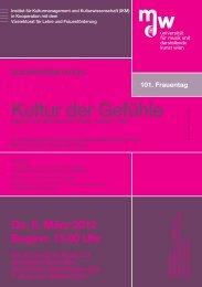 Kultur der Gefühle - Universität für Musik und darstellende Kunst Wien