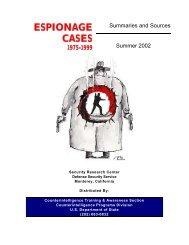 Espionage Cases 1975 to 1999 - 2002 - Higgins Counterterrorism ...