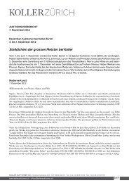 Stelldichein der grossen Meister bei Koller - Koller Auktionen