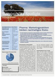 Sustainability Spotlight: Pharma - Bank Sarasin & Cie AG