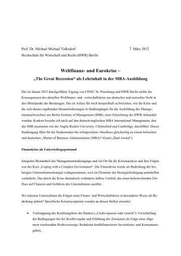 Weltfinanz- und Eurokrise – - MBA Programme der HWR Berlin