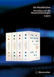 Bärenreiter Die Musikbücher Vorschau auf die Neuerscheinungen 1 ...