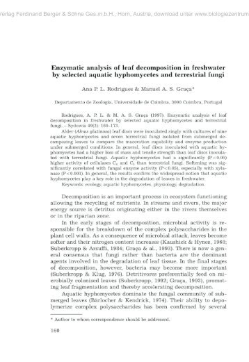 Enzymatic analysis of leaf decomposition in freshwater by selected ...