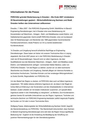 Informationen für die Presse - FERCHAU Engineering GmbH