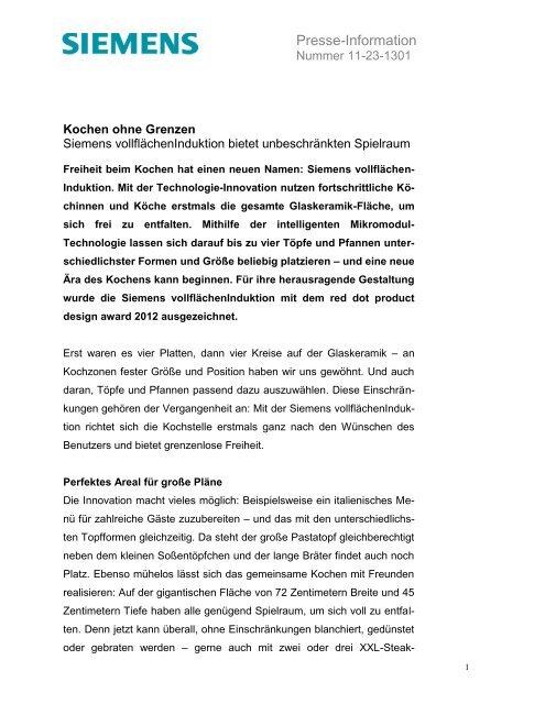 Siemens vollflaechenInduktion