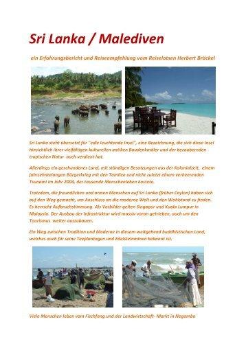 Sri Lanka / Malediven - Ihr Reiselotse Herbert Bröckel Reisebüro Ihr ...