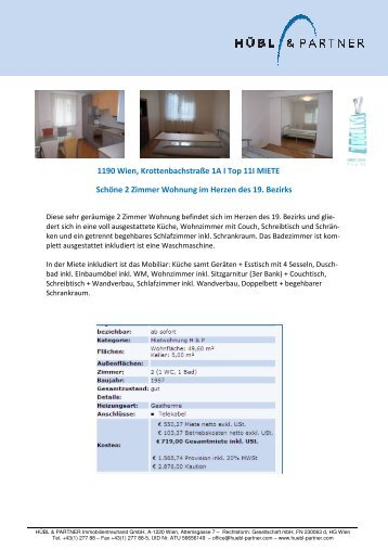 1190 Wien, Krottenbachstraße 1A I Top 11I MIETE ... - Hübl & Partner