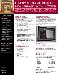 March 2008 Newsletter - Chapman University