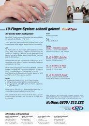 10-Finger-System schnell gelernt Hotline: 0800 / 212 222 - BFI NÖ