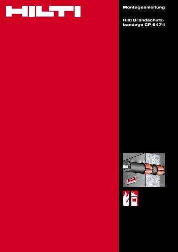 Montageanleitung Hilti Brandschutz- bandage CP 647-I