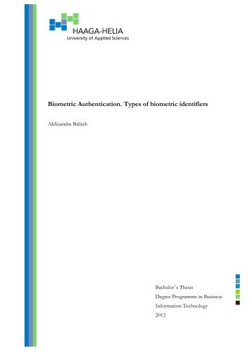 Biometric Authentication Types Of Identifiers