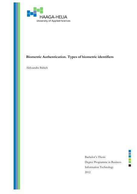 Biometric Authentication  Types of biometric identifiers