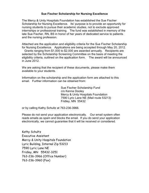Sue Fischer Scholarship Application - Bemidji State University