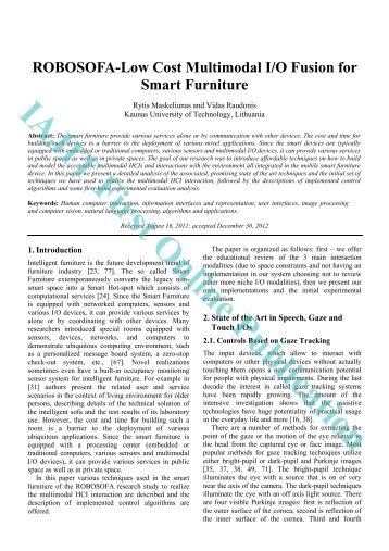 ROBOSOFA-Low Cost Multimodal I/O Fusion for Smart Furniture
